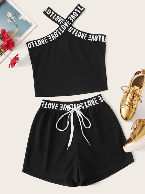Letter Tape Top With Drawstring Shorts, null