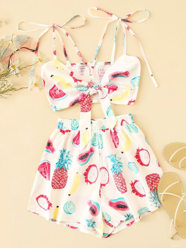 Fruit Print Tie Front Cami Top With Shorts, null