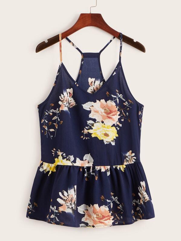 Floral Print Ruffle Hem Cami Top, Navy