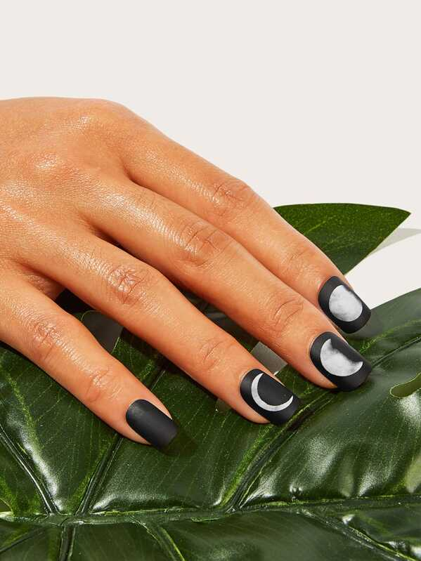 Moon Pattern Fake Nail With Double Side Tape 25pack, null