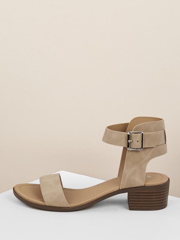 Open Toe Chunky Heel Ankle Strap Sandal, null