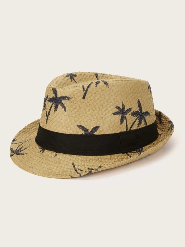 Kids Coconut Tree Pattern Panama Hat, Khaki