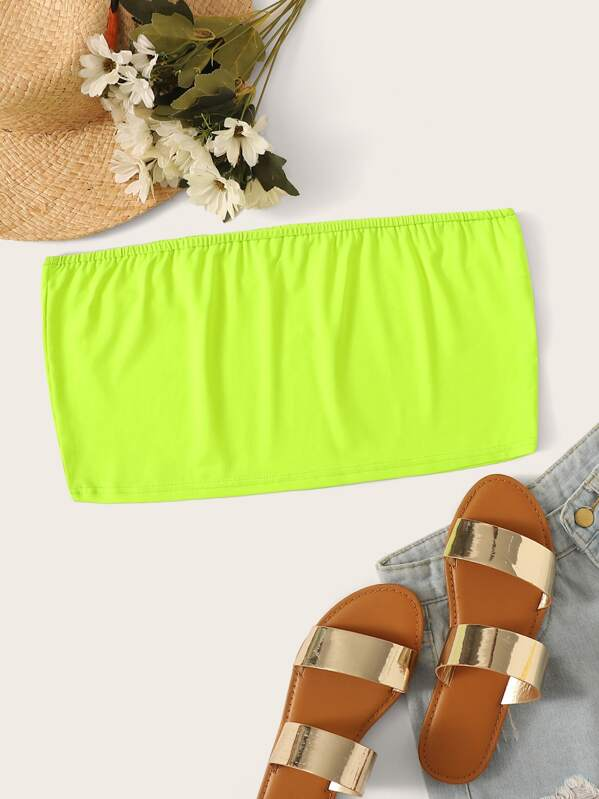 Plus Neon Lime Tube Top, null