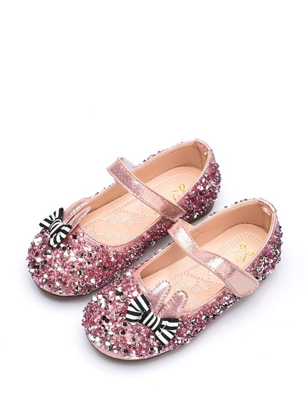Baby Striped Bow Tie Decor Flats