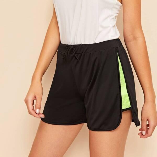 Neon Green Mesh Insert Dolphin Shorts