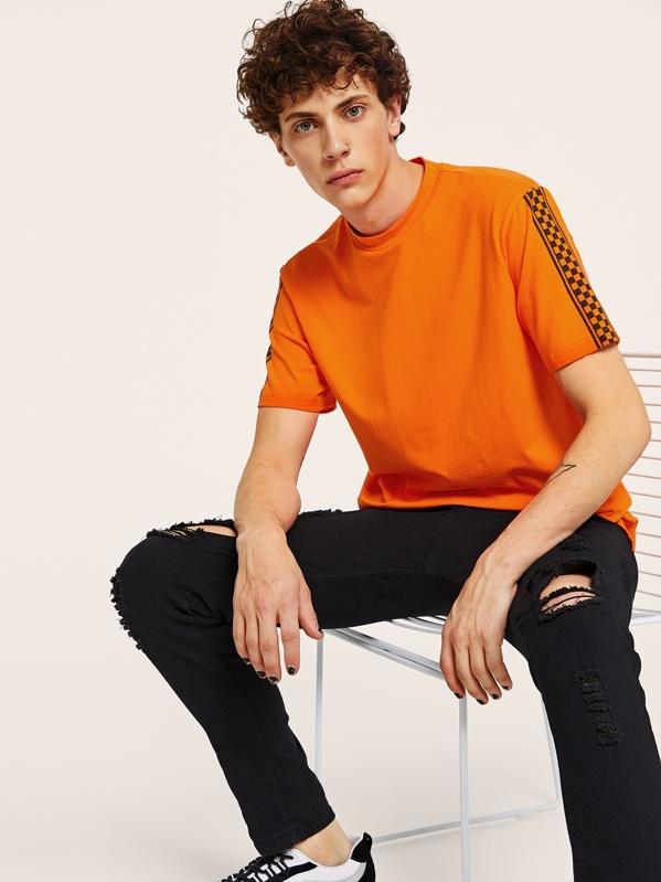 Men Neon Orange Mock-neck Checked Sleeve Tee, Tyler