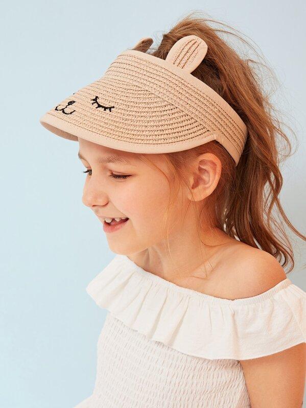 Kids Embroidery Detail Visor, Pink
