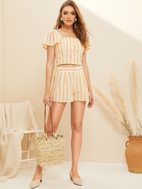 Button Front Flutter Sleeve Crop Striped Top & Shorts Set, Yellow, Luiza