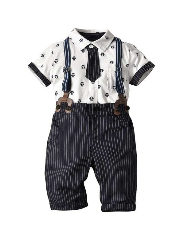 Toddler Boys Geometric Print Tie Front Top With Striped Pants, null