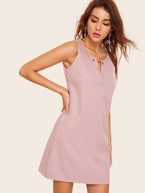 Solid V-neck Dress, MARTINA