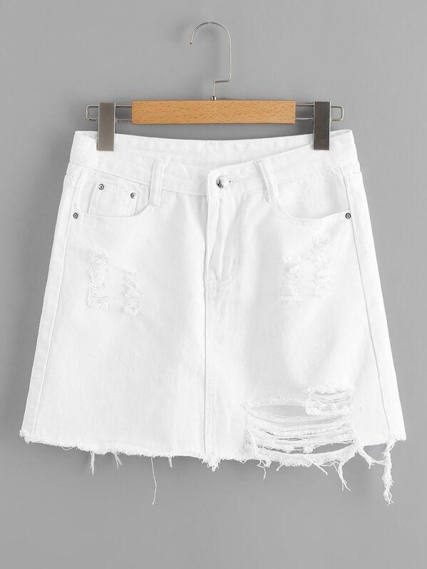 Plus Raw Hem Ripped Denim Skirt, null