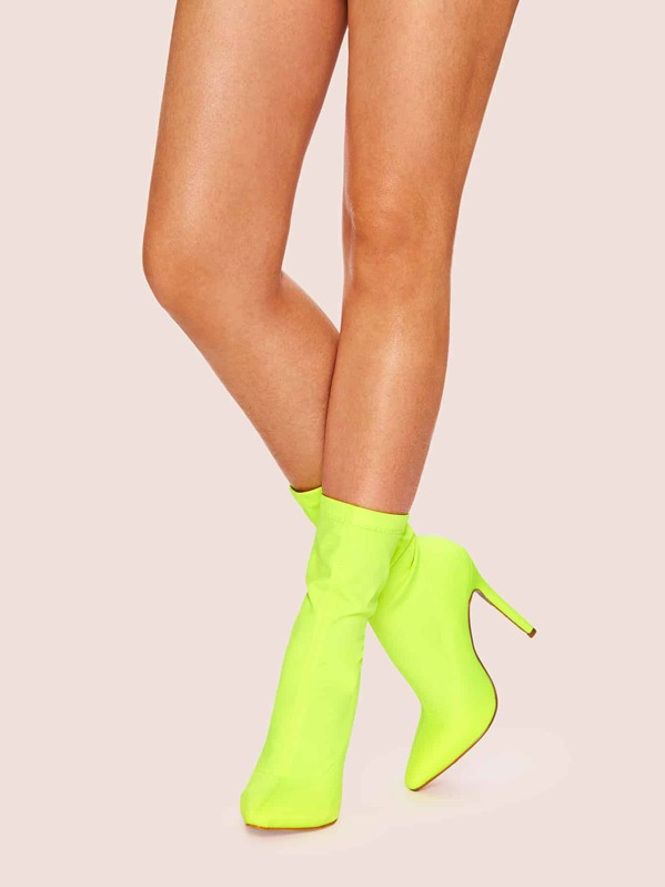 Plain Point Toe Neon Boots, Green