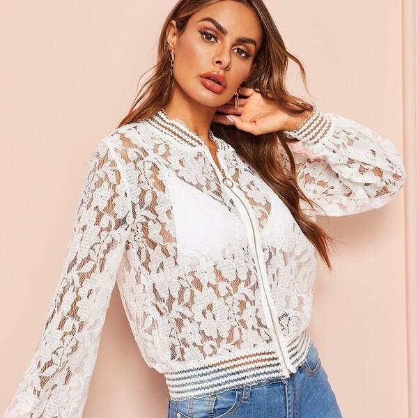 Lace Zip Up Sheer Jacket, White