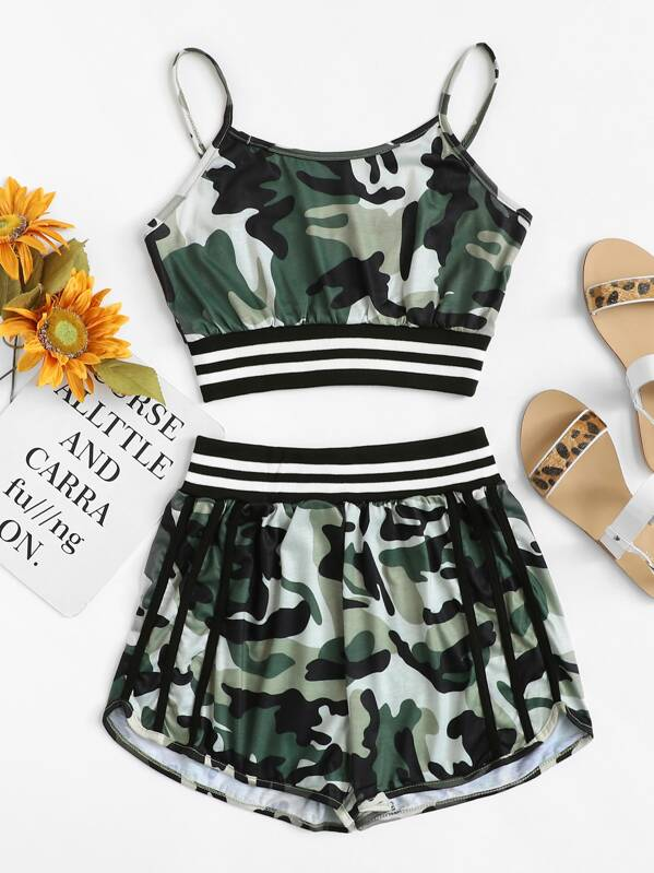 Camo Print Striped Panel Cami Top With Shorts, null