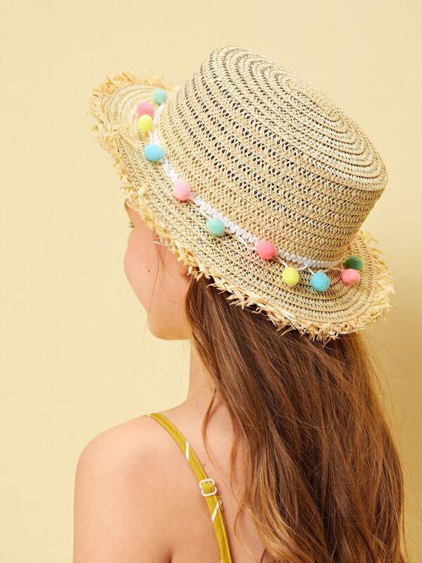 Kids Pom-pom Decor Raw Edge Panama Hat, Beige