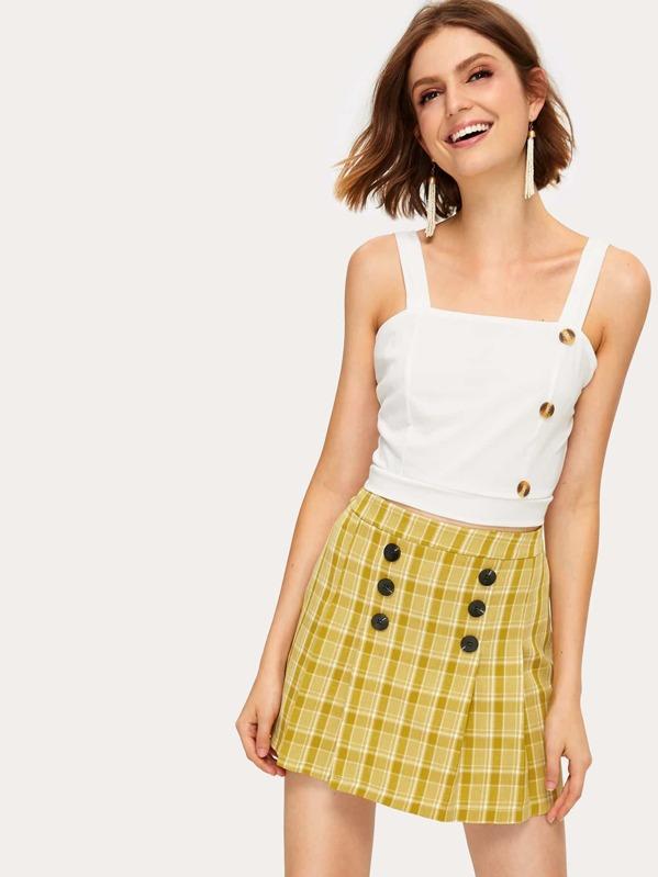 Plaid Print Button Detail Skirt, Andressa