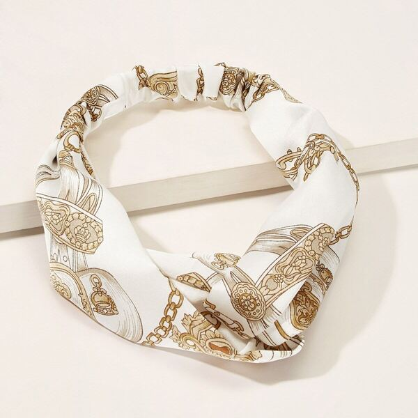 Chain Print Twist Headband, Multicolor