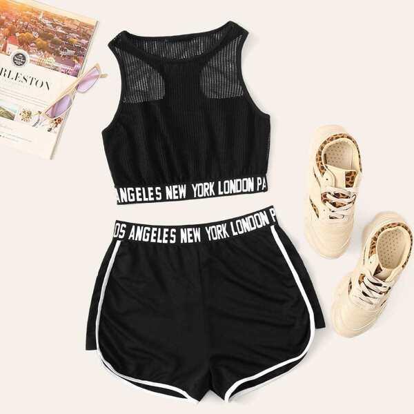 Letter Hem Sports Mesh Top & Contrast Binding Shorts Set