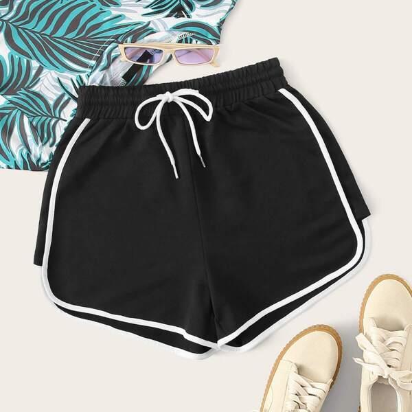 Drawstring Waist Piping Trim Sports Shorts
