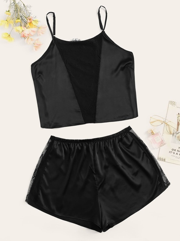 Plus Contrast Lace Satin Cami Top With Shorts, null