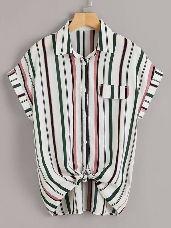 Button Through Knot Hem Striped Blouse, null