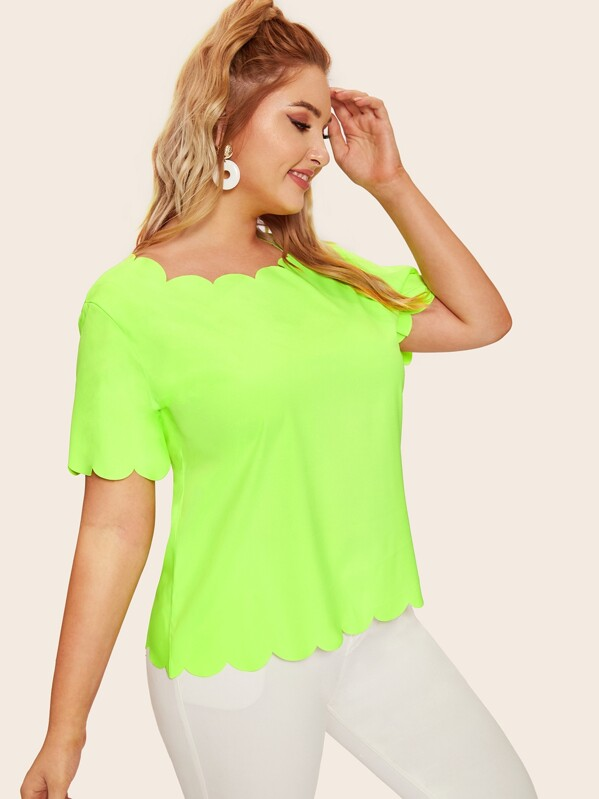 Plus Neon Lime Scallop Trim Tee, Nora