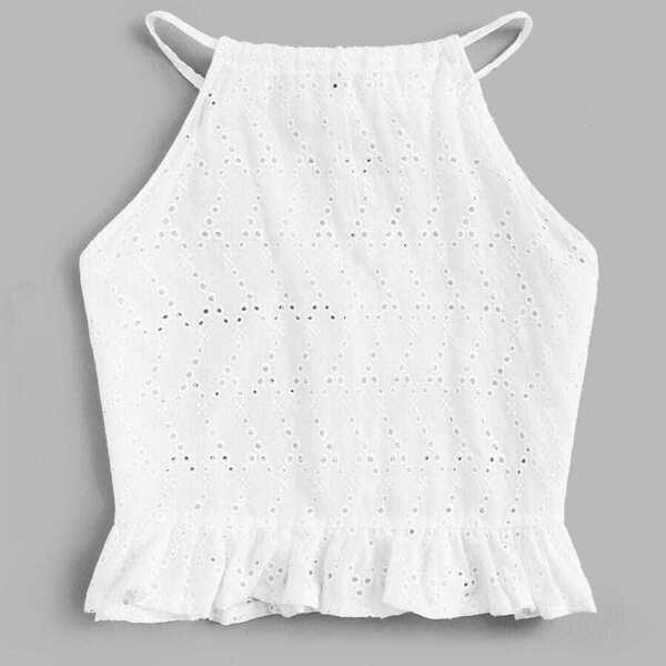 Plus Eyelet Embroidery Ruffle Hem Crop Top, White
