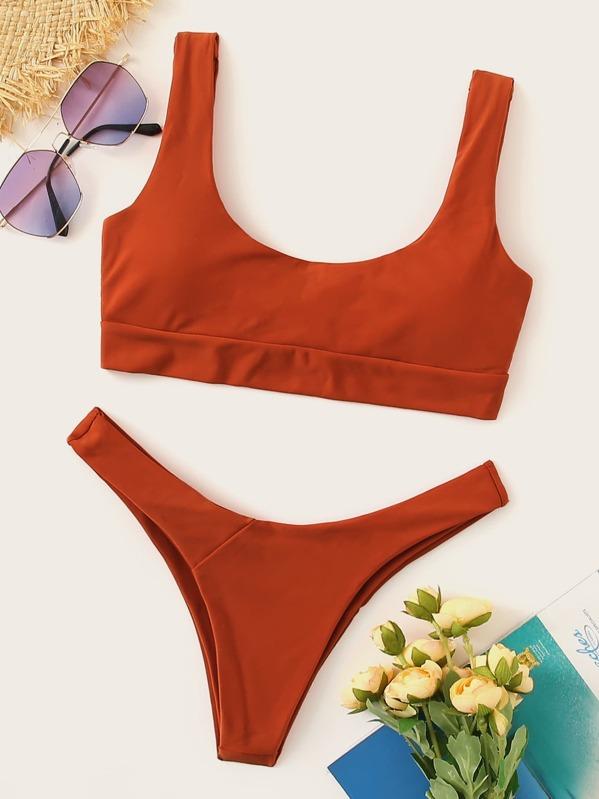 Scoop Neck Top With High Leg Bikini Set, Brown