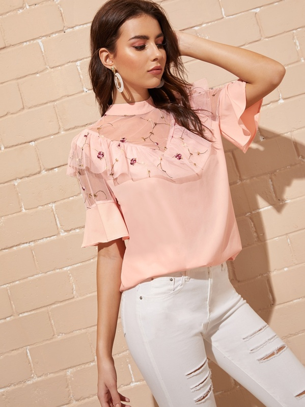 Contrast Mesh Embroidery Blouse, Pink, MARTINA