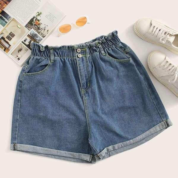 Plus Rolled Hem Solid Denim Shorts