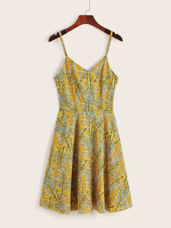 Plants Print Lace-up Back Cami Dress, null