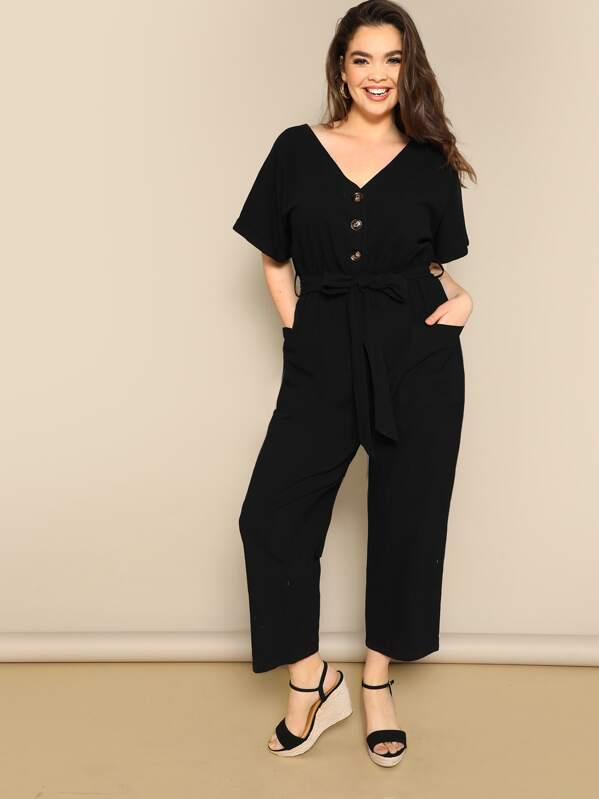 Plus Button Front Wide Leg Belted Jumpsuit, Faith Bowman