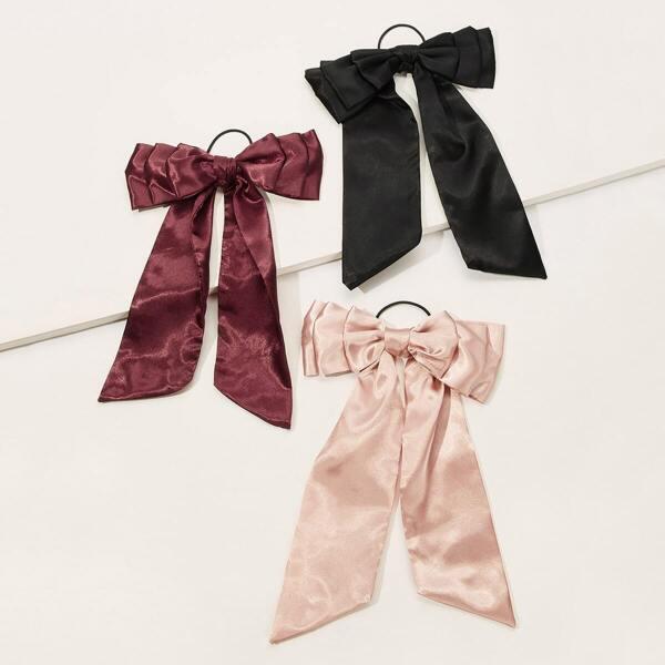 Bow Decor Hair Tie 3pack