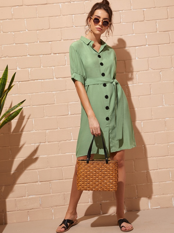 Self Tie Button Through Shirt Dress, Army green, MARTINA