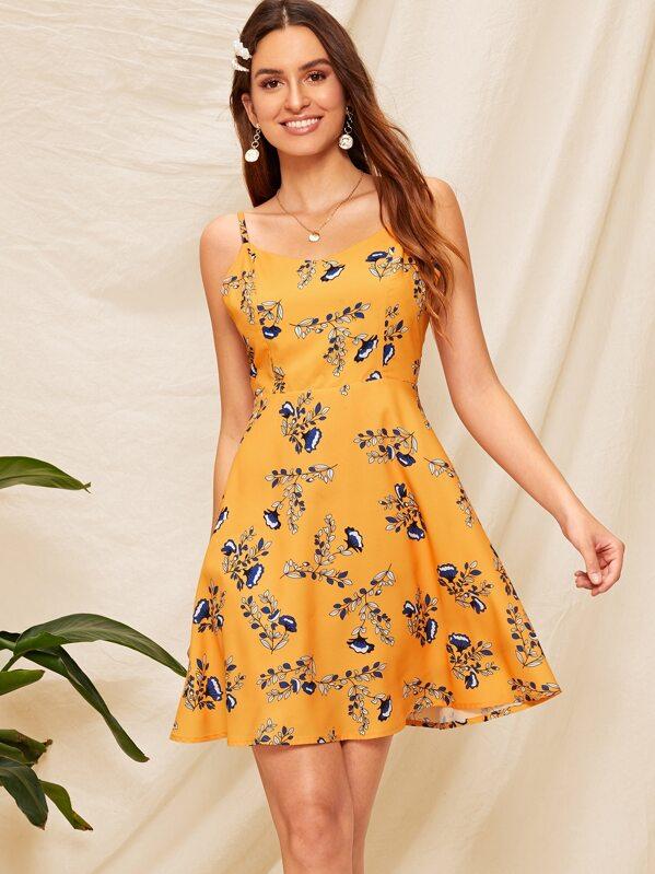 Floral Print Lace Up Back Cami Dress, Jana