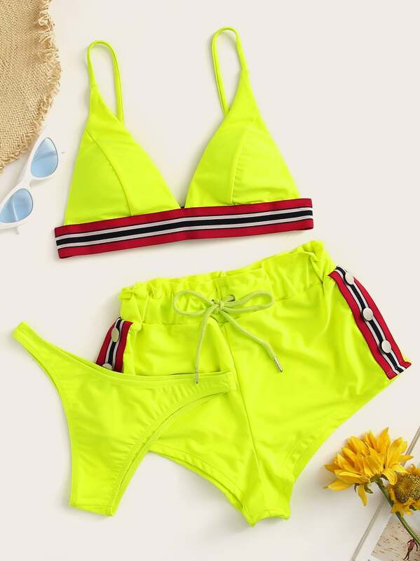 Neon Lime Striped Trim Bikini Set With Shorts 3pack, null