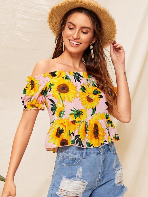 Off Shoulder Sunflower Print Ruffle Hem Top, Jana