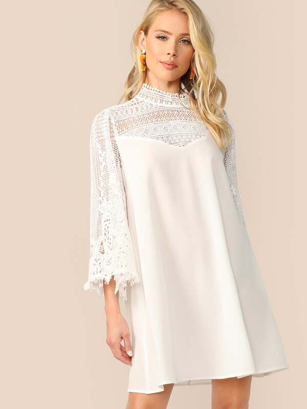 Mock-Neck Guipure Lace Shoulder and Sleeve Dress, AllieB