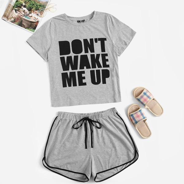 Plus Slogan Graphic Tee & Dolphin Hem Shorts PJ Set, Grey