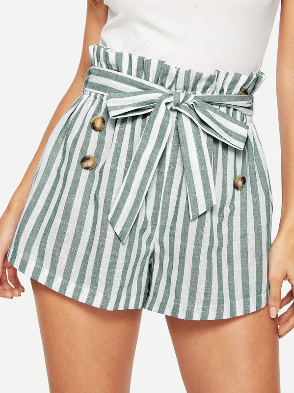 Double Breasted Striped Belted Paperbag Waist Shorts, Juliana