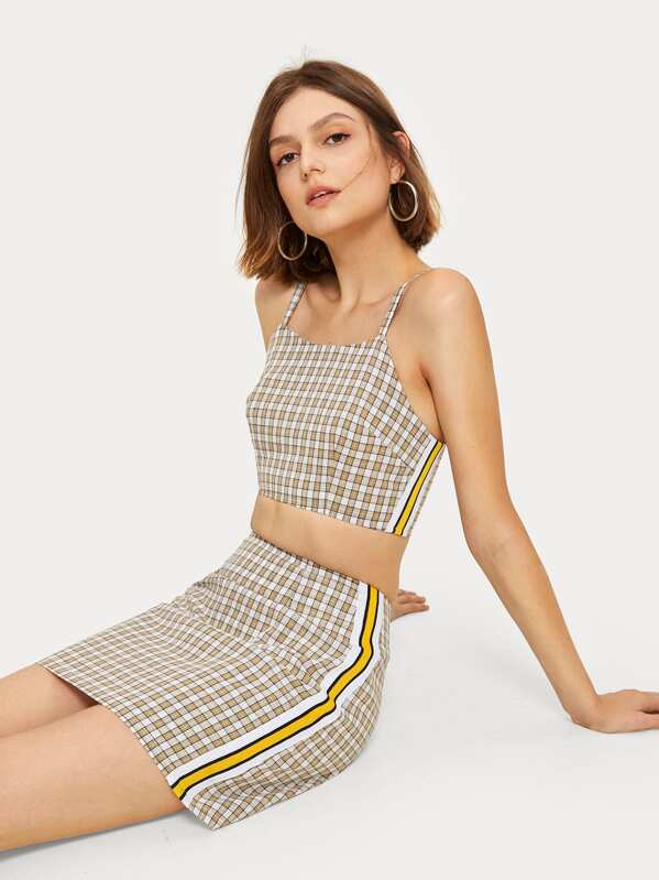 Plaid Print Striped Tape Panel Cami Top With Skirt, Andressa