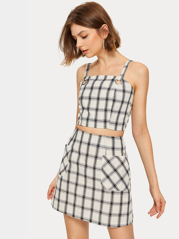 Plaid Print Shirred Back Cami Top With Skirt, Andressa