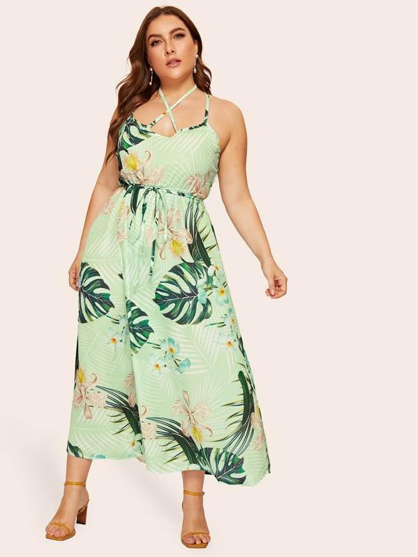 Plus Tropical Print Open Back Cami Dress, Green, Franziska