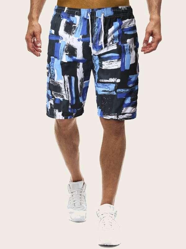 Men Brush Print Drawstring Bermuda Shorts, null
