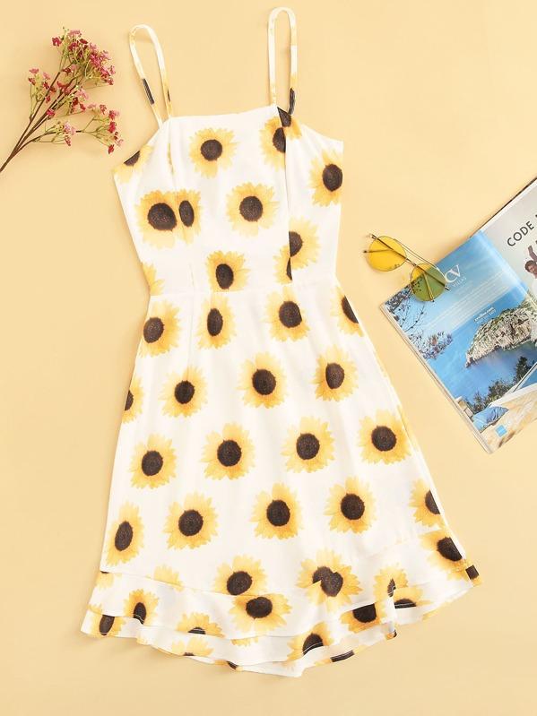 Tie Back Sun Flower Print Cami Dress, null