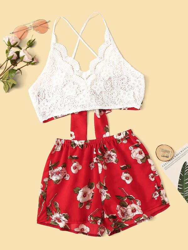 Floral Print Lace Panel Tie Back Top With Shorts, null