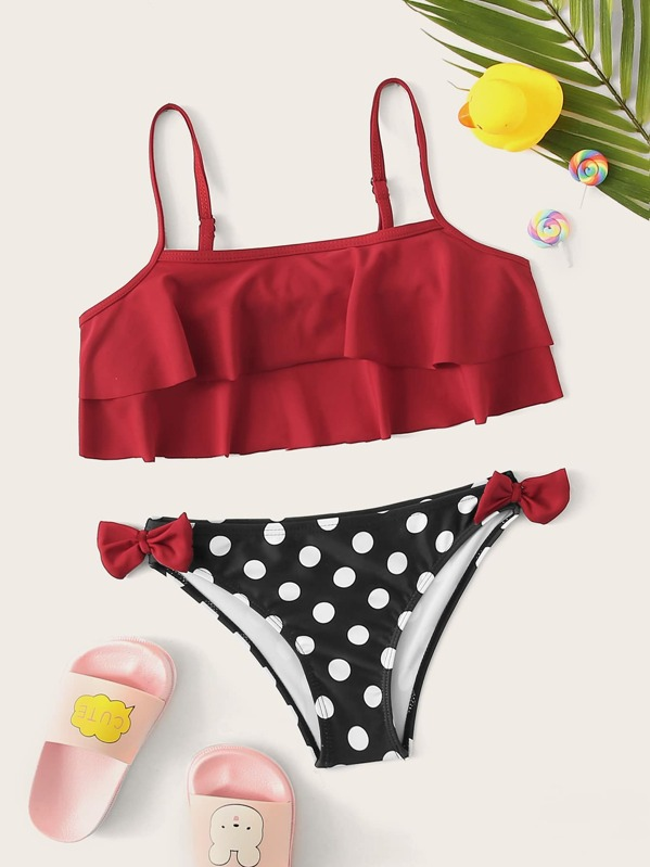 Toddler Girls Flounce Top With Bow Detail Bikini, Multicolor