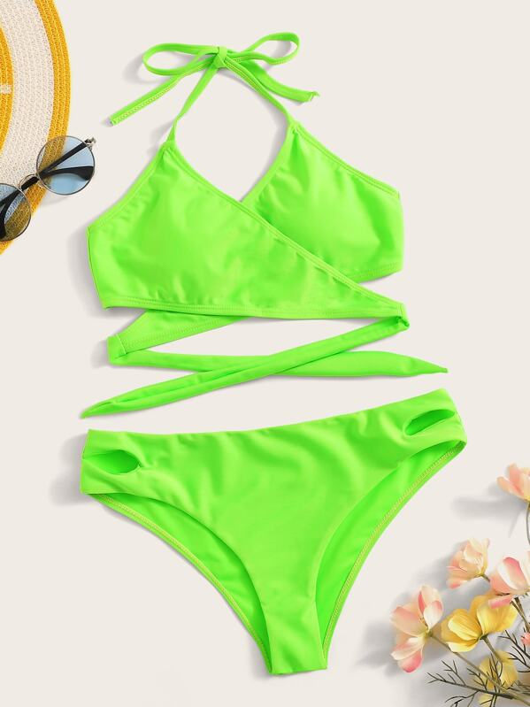 Neon Lime Wrap Halter Top With Cut-out Bikini Set, null