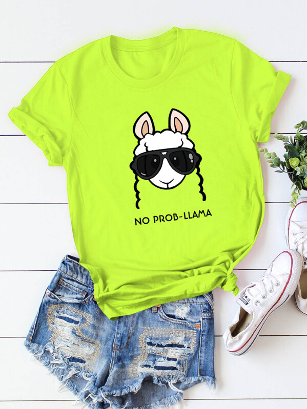 Neon Lime Letter And Animal Print Tee, null