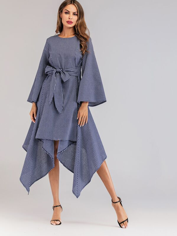 Grid Asymmetrical Hem Belted Dress, Navy
